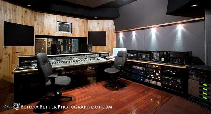 Interior photographs of the recording studio and control rooms.