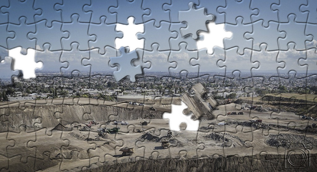 photograph of a gravel pit made to look like a jigsaw puzzle