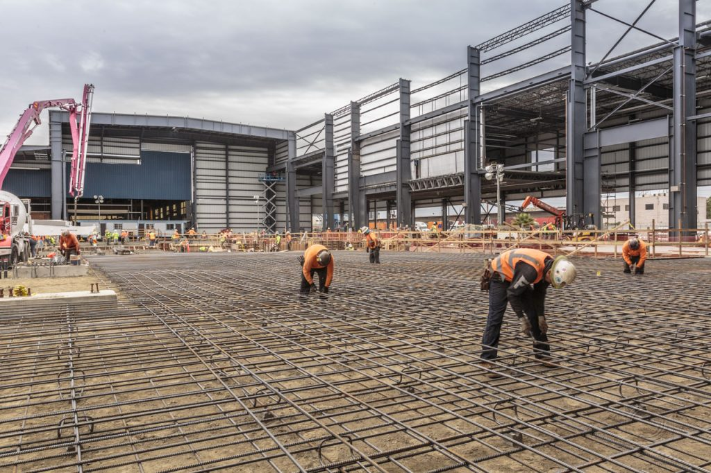 Ground level view of rebar tying