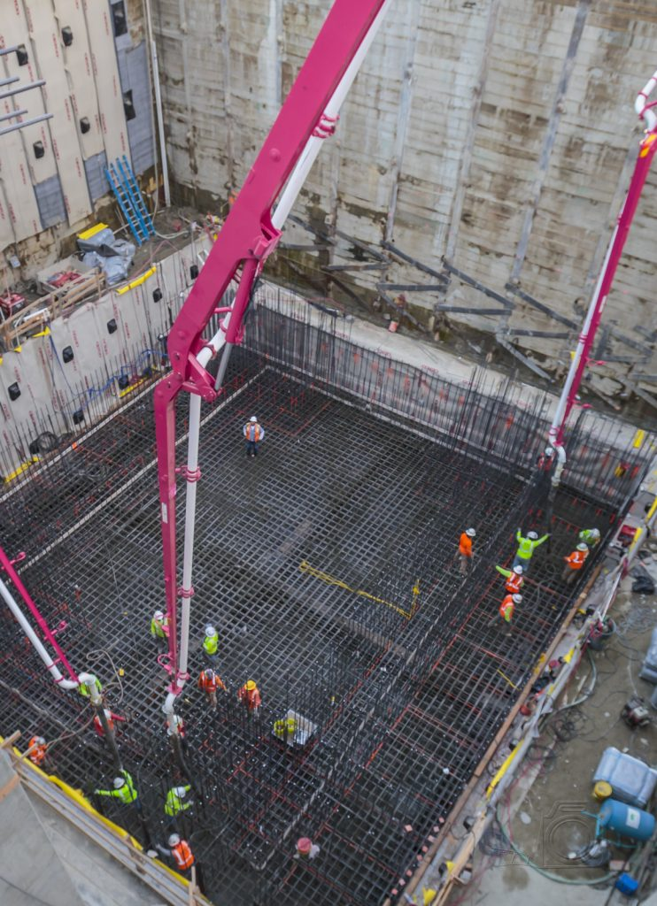 looking down at a concrete pour